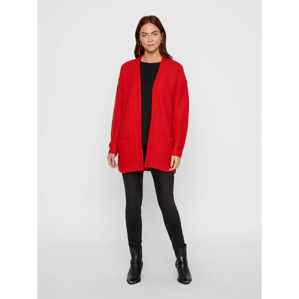 VERO MODA : Open Front Knitted Cardigan Red
