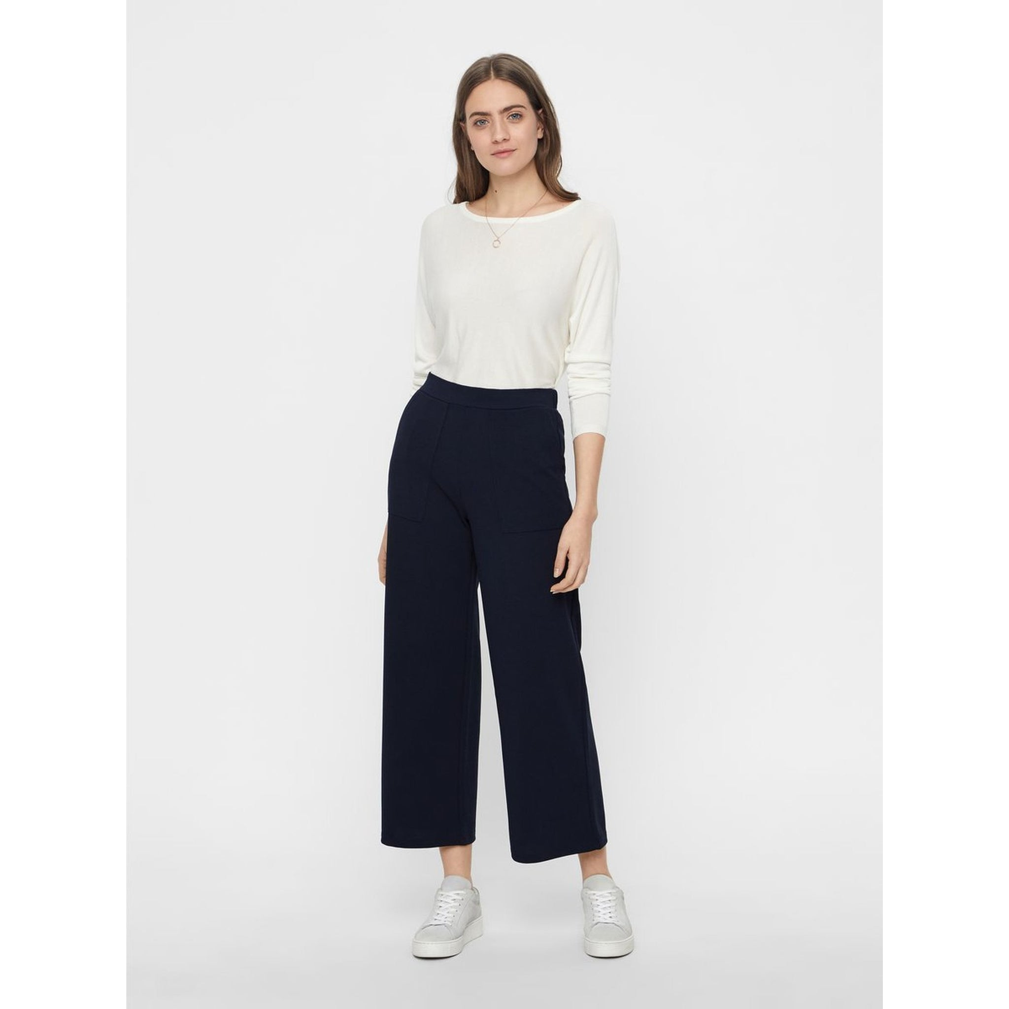 VERO MODA : High Waisted Trousers Navy