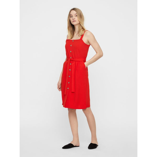 VERO MODA : Millie Short Sleeve Button Front Dress Fiery Red