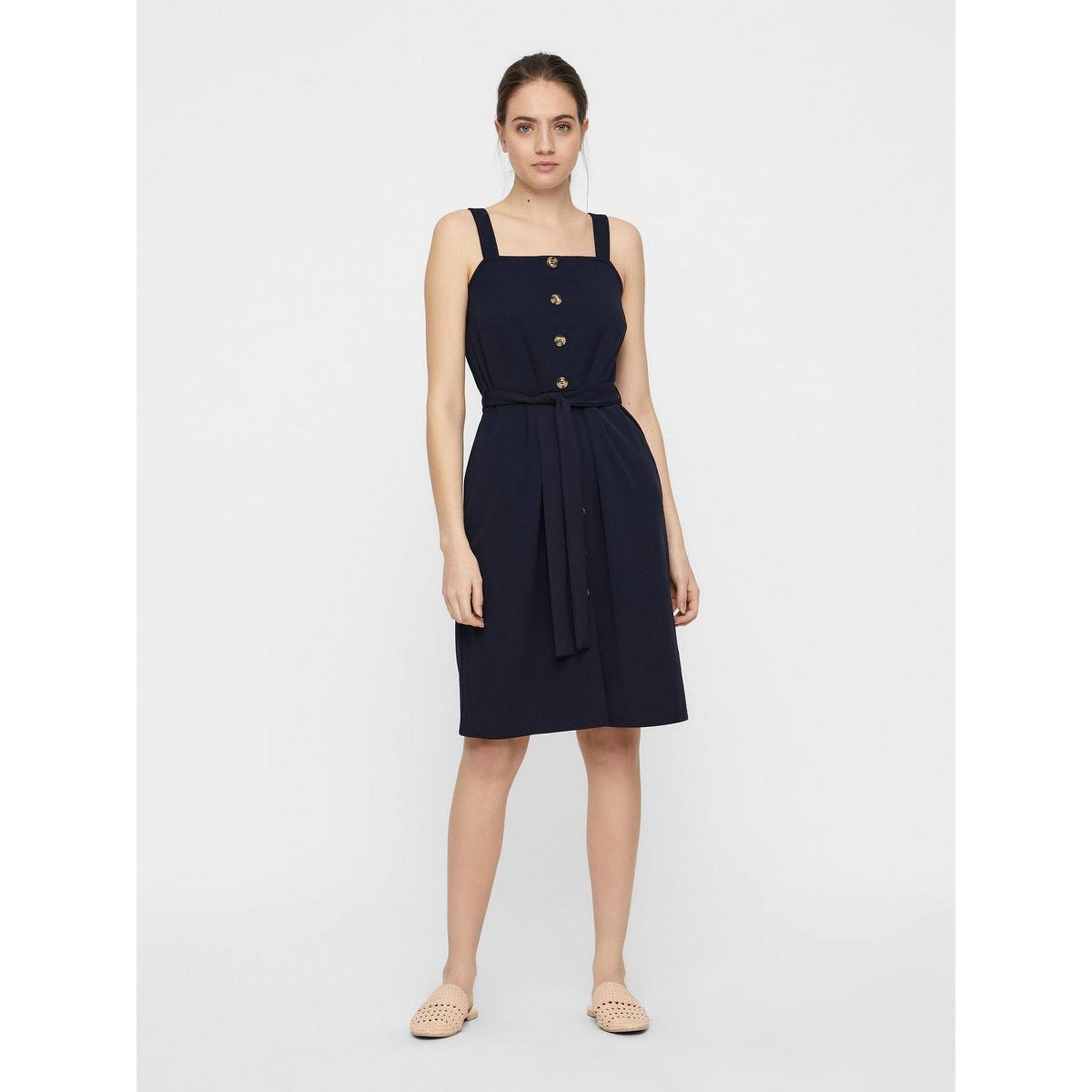 VERO MODA : Millie Short Sleeve Button Front Dress Navy
