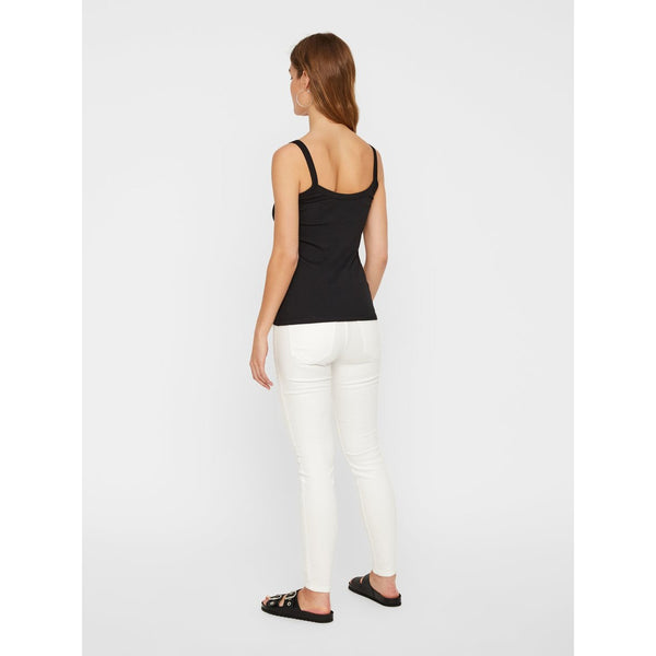 VERO MODA : Ribbed Strap Top Snow White