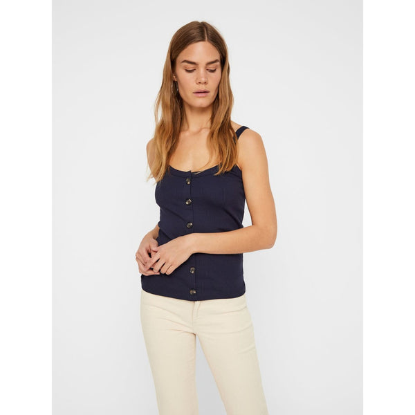 VERO MODA : Ribbed Strap Top Black