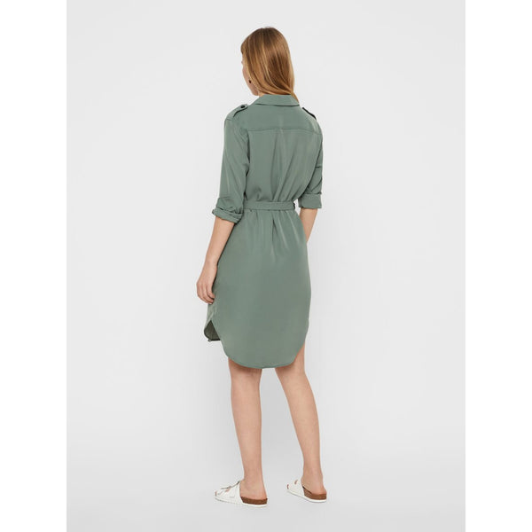 VERO MODA : Selina Long Sleeve Short Shirt Dress Green