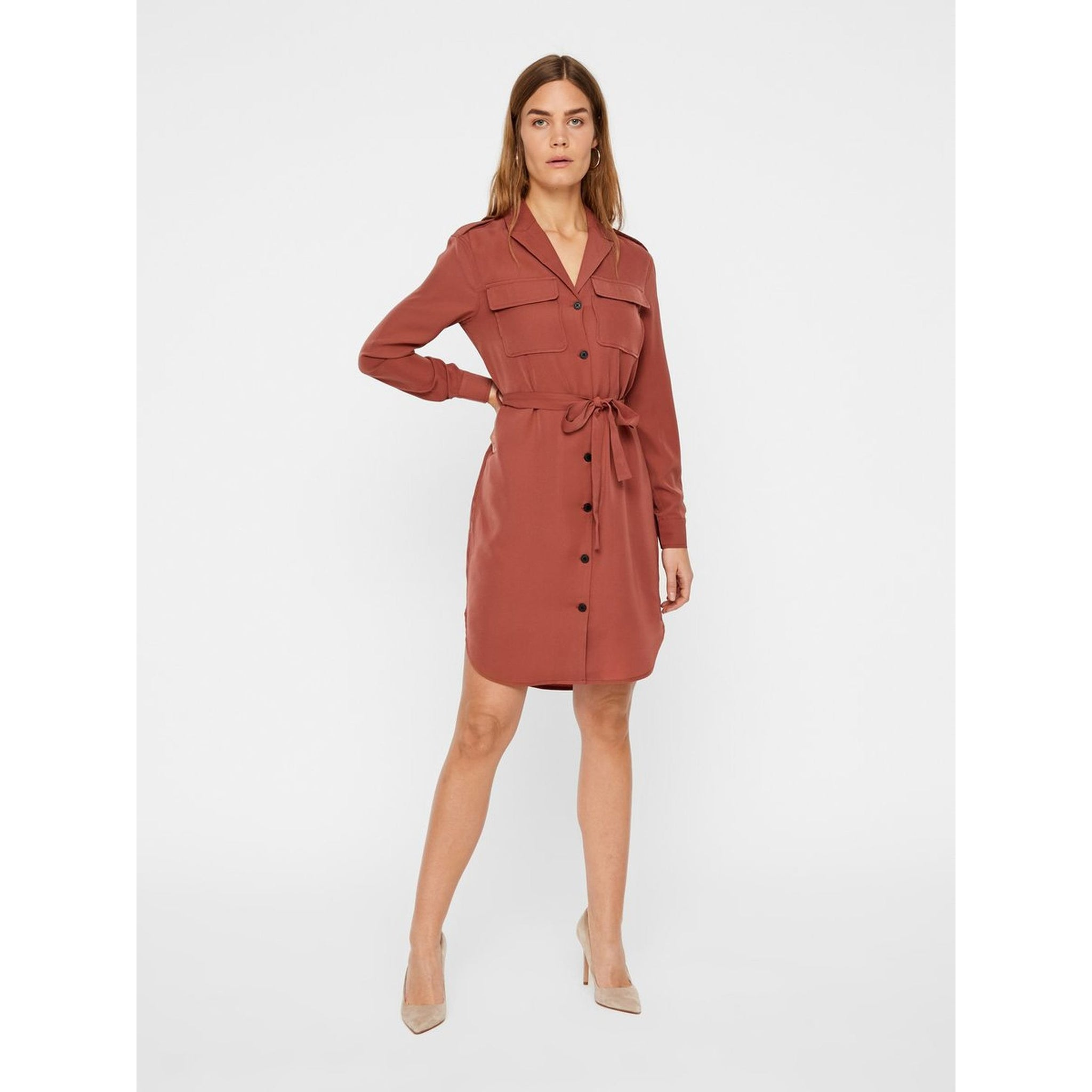 VERO MODA : Selina Long Sleeve Short Shirt Dress Cowhide