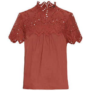 VERO MODA : Crochet Short Sleeve Top