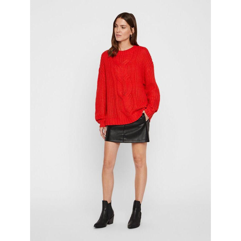 VERO MODA : O-Neck Knitted Pullover High Risk Red
