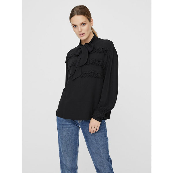 VERO MODA : Bow Tie Top Black