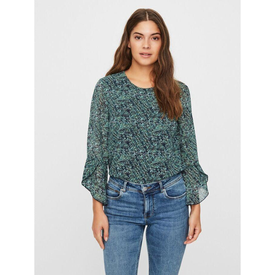 VERO MODA : 3/4 Sleeved top NightSky/Blue