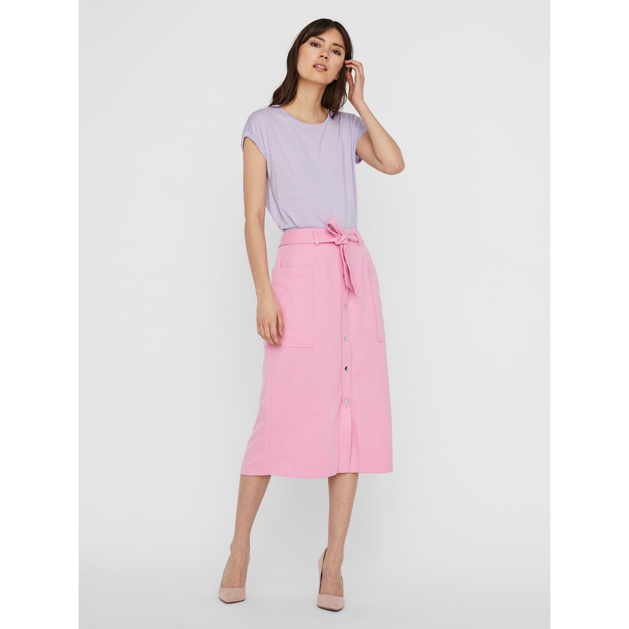 VERO MODA : Front button midi skirt