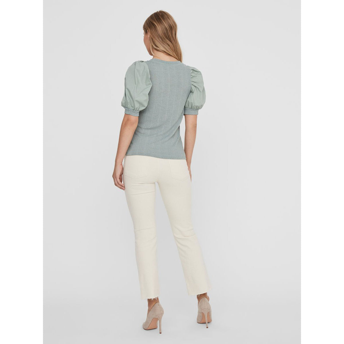 Vero Moda 2 4 Puff Sleeved Top Green The Cope