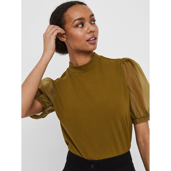 VERO MODA : High Neck Short Sleeve Top