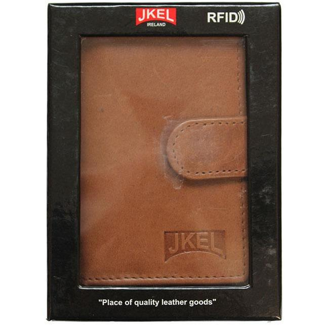 JKEL : RFID Protected Brown Leather Card Holder