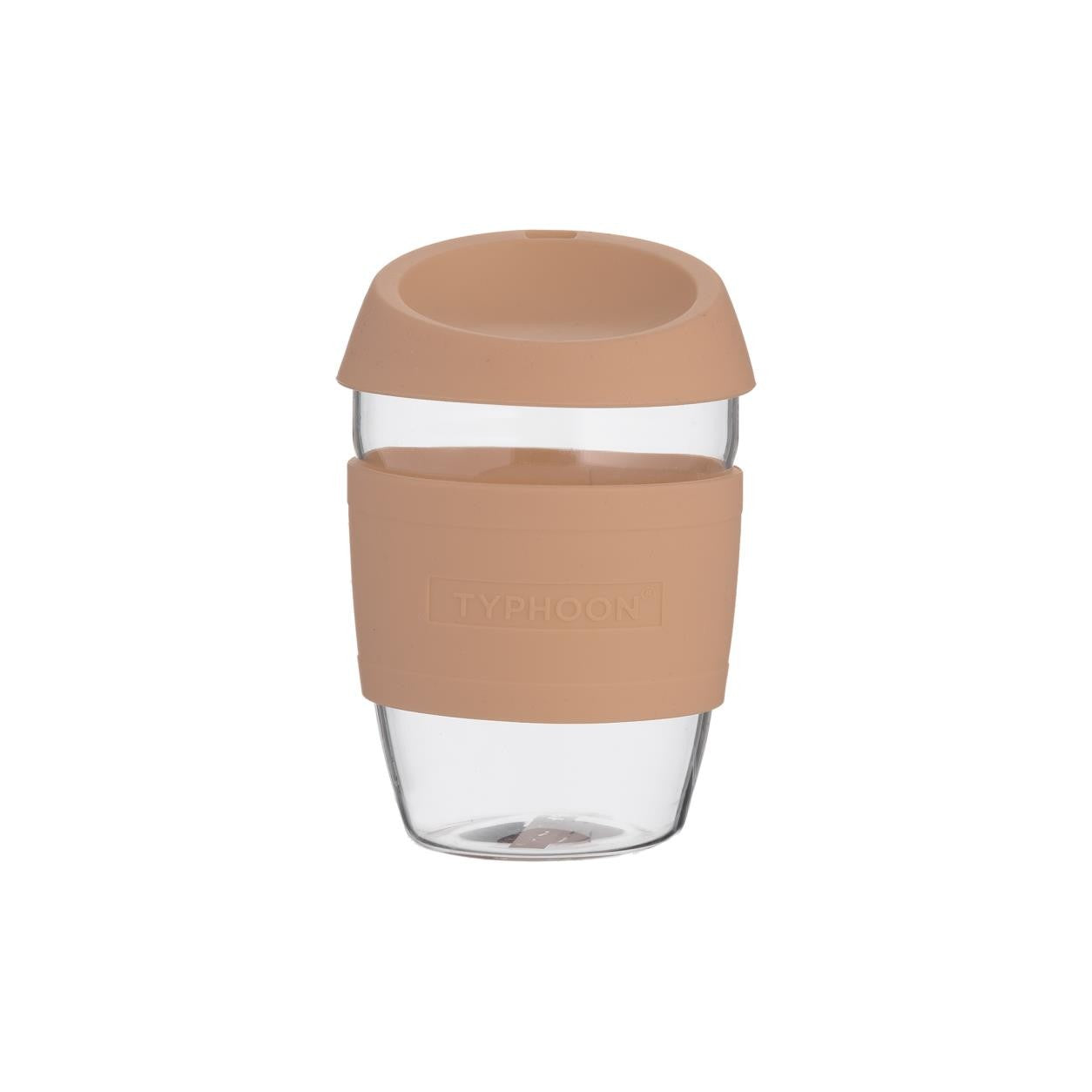 Typhoon : Re-usable 400ml glass travel mug pink