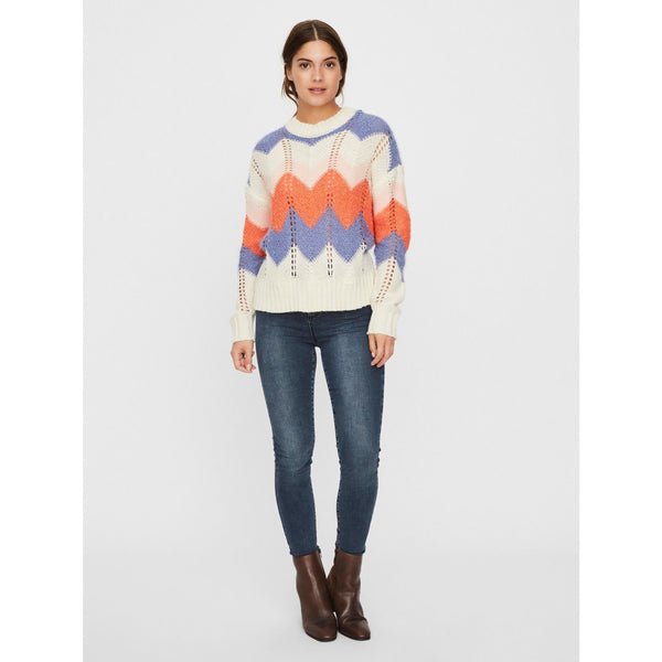 VERO MODA : Ziggi LS O-Neck Blouse Birch / Blue