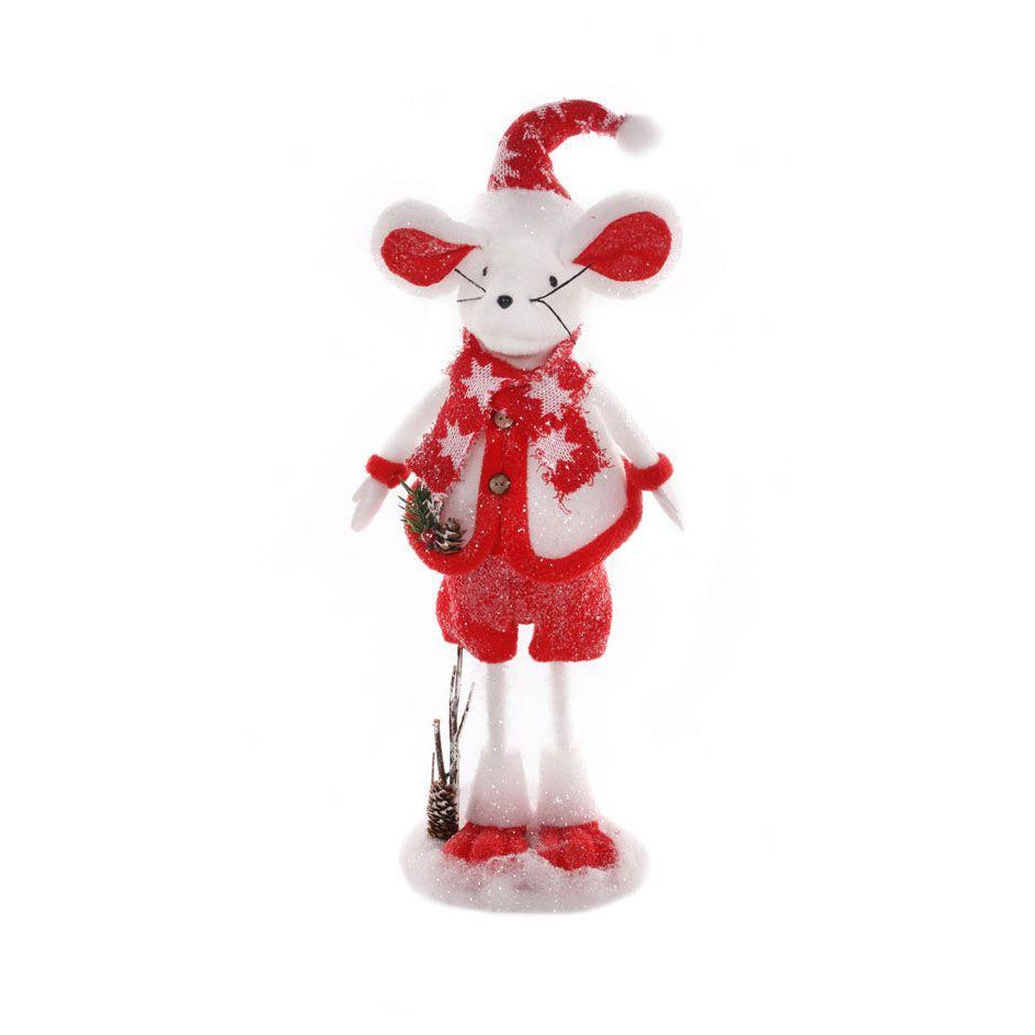49cm Standing Mouse - White & Red