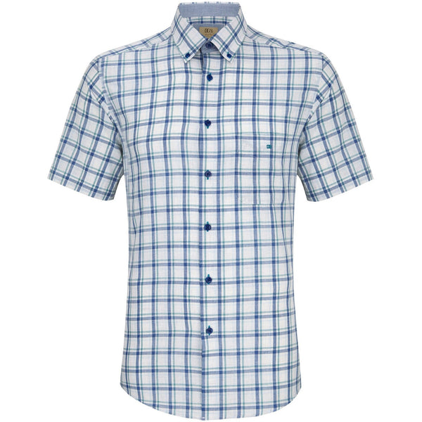 DANIEL GRAHAME : Green and White Geneva Short Sleeve Casual Shirt
