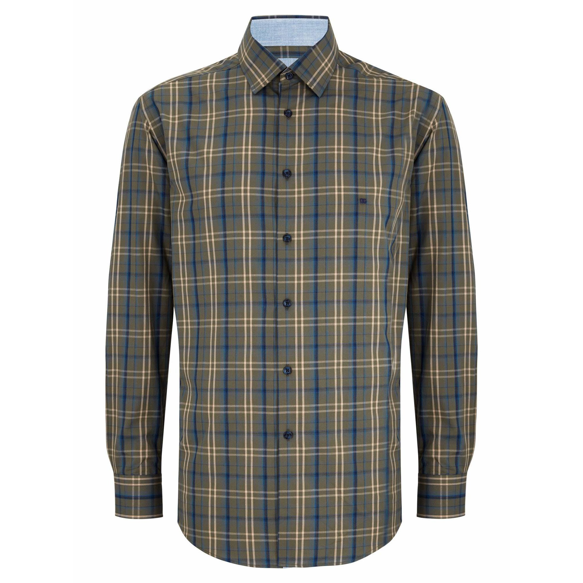 DANIEL GRAHAME : Green Geneva Long Sleeve Casual Shirt
