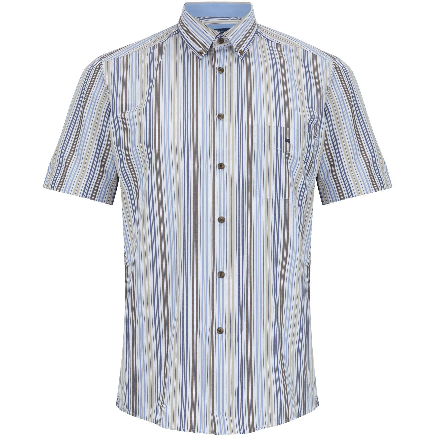 DANIEL GRAHAME : Sand and White Short Sleeve Shirt