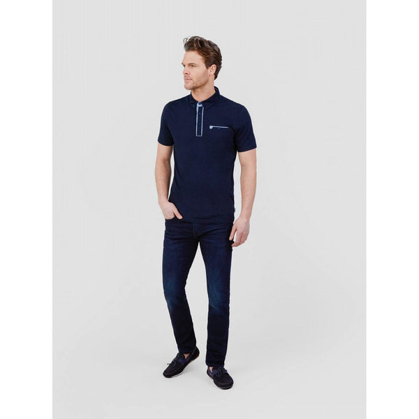 MISH MASH : Portifino Cotton Jersey Polo with Geometric Contrast Placket and Collar Navy