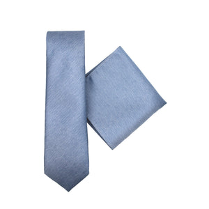 L.A. SMITH :Poly  Plain blue Tie & Handkerchief Set