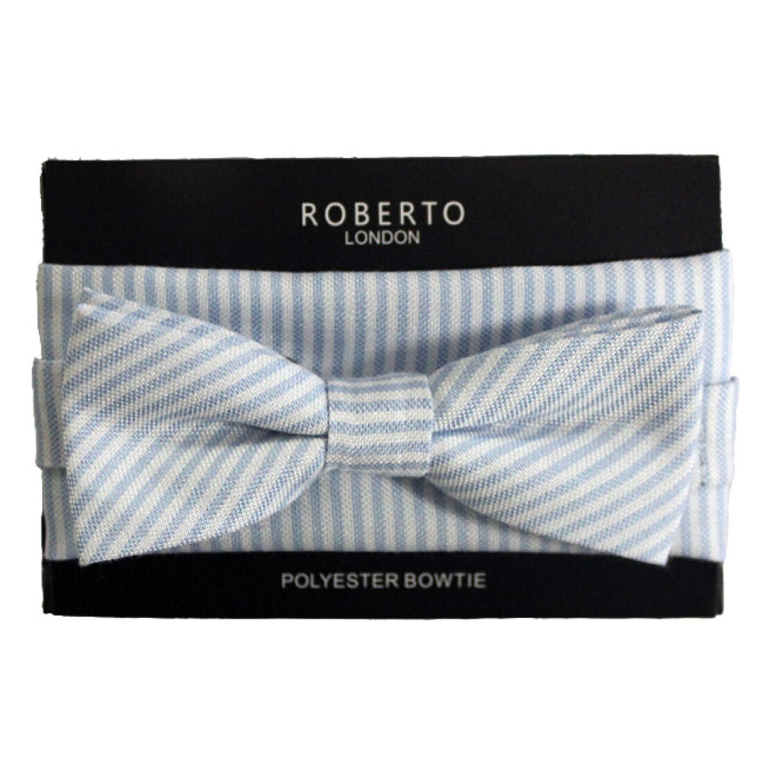 ROBERTO LONDON : Blue & White Stripe Bow Tie Set