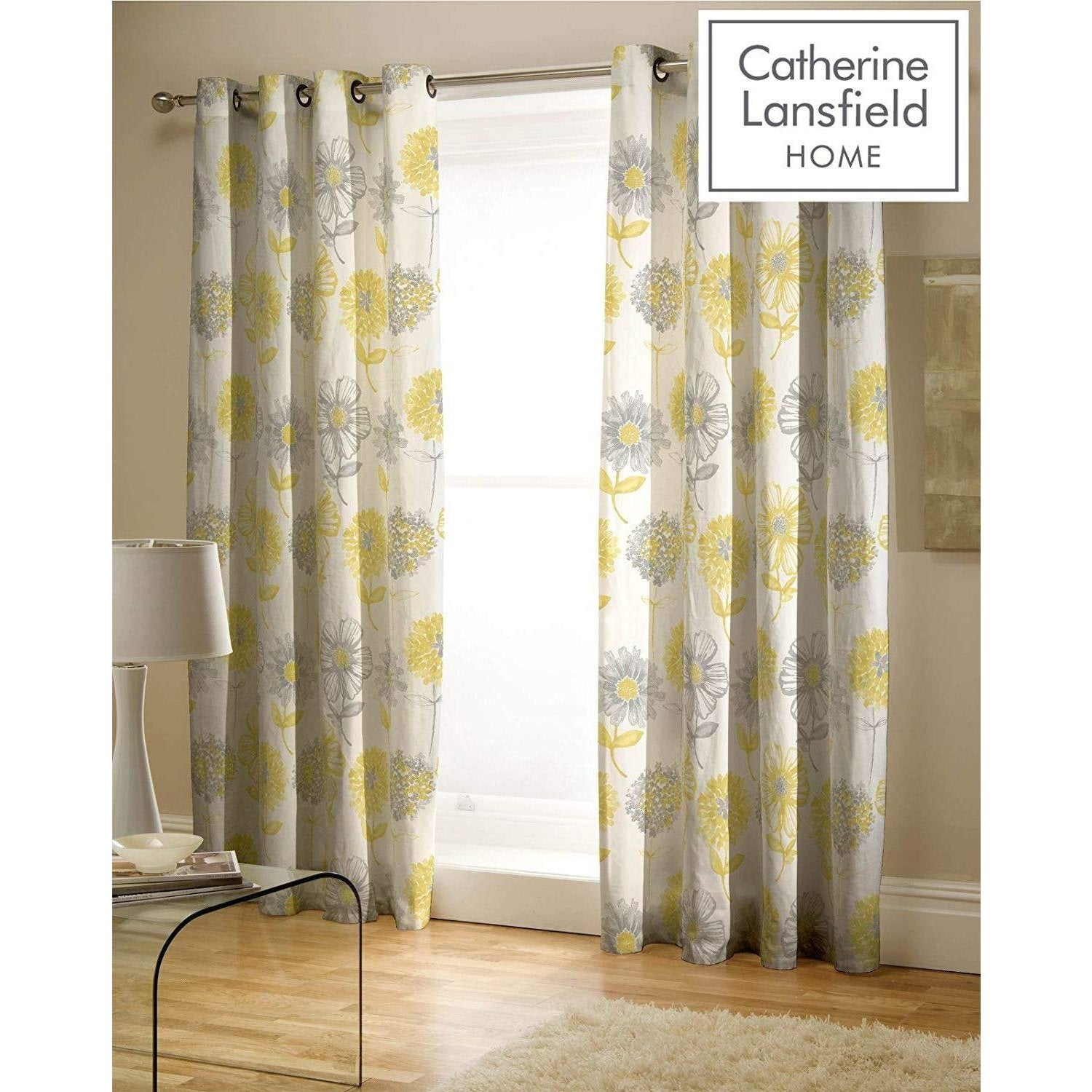 CATHERINE LANSFIELD : Banbury Floral Curtains 66 X 72