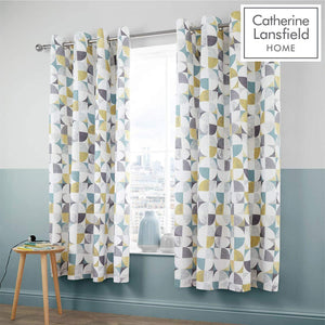 CATHERINE LANSFIELD : Retro Circles Curtains 66 X 72