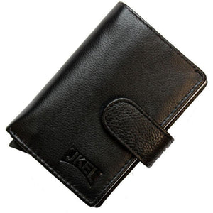JKEL : RFID Protected Black Leather Card Holder