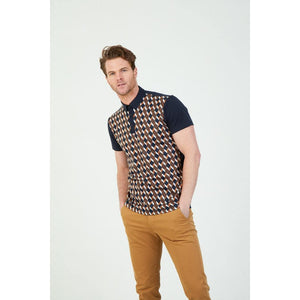 MISH MASH : DRK TAG GEOMETRIC JACQUARD WEAVE FRONT SHORT SLEEVE POLO, NAVY