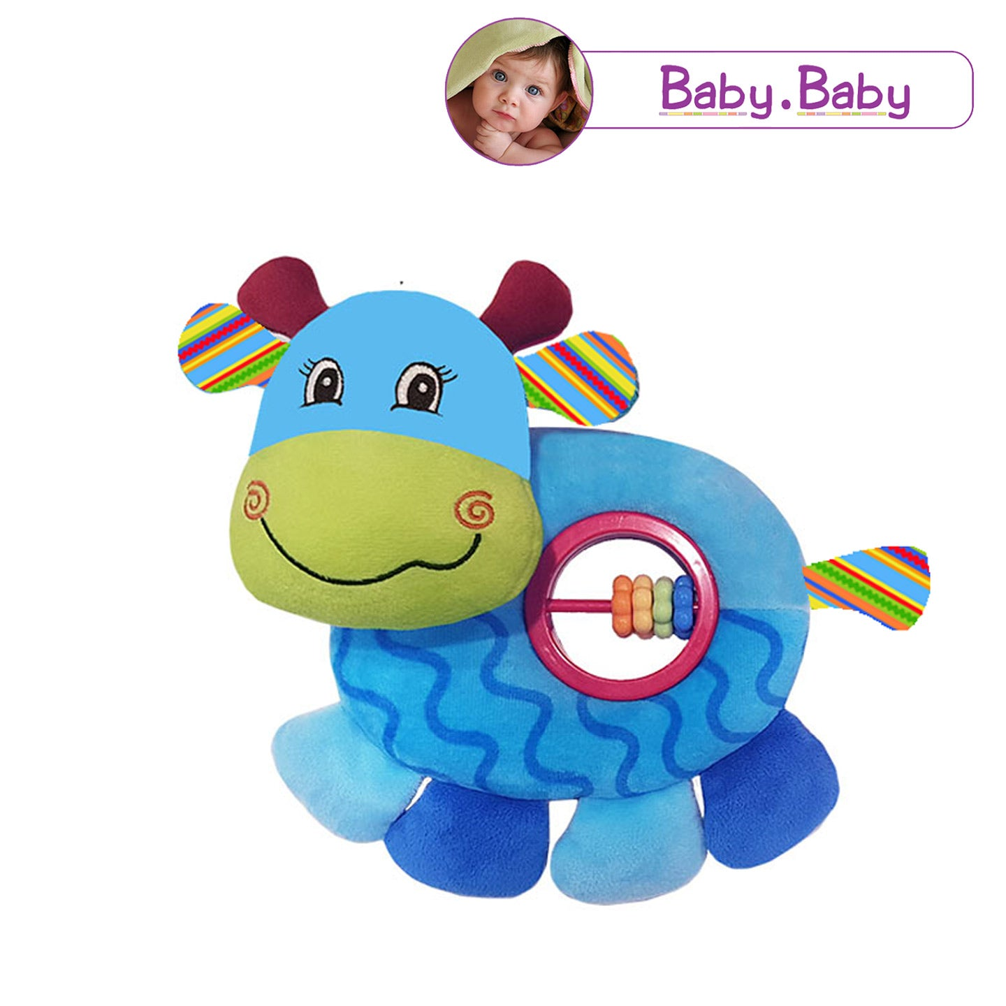 BABY BABY : Cute Cow Belly Rattle Toy