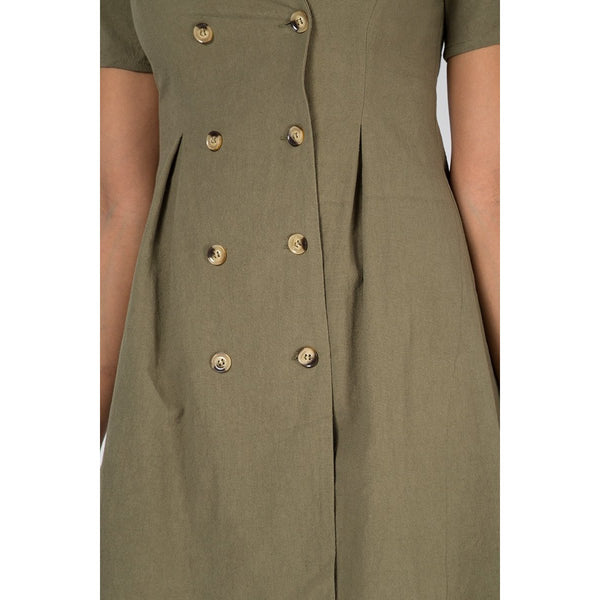 COPE CLOTHING : Double Breasted Safari Dress Khaki