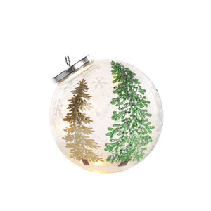 Tree Glass Bauble With LED Lights