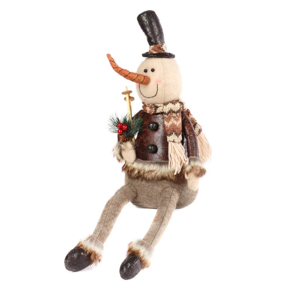 Christmas Rustic Sitting Snowman (Long Legs)