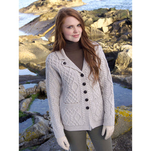 ARAN CRAFTS : Revere Button Collared Ladies Cardigan