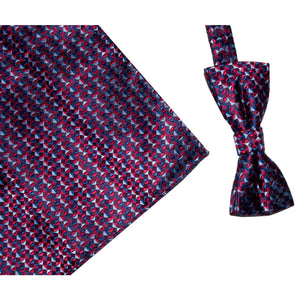 ROBERTO LONDON : Red/Wine Bow Tie Set