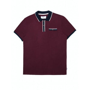 MISH MASH : FALUN CASUAL SHORT SLEEVE POLO WITH CONTRAST TIPPING, BURGUNDY