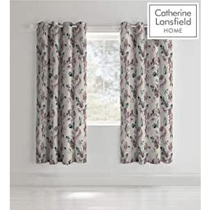 CATHERINE LANSFIELD : Painted floral Curtains 66 X 72