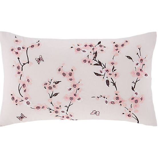 CATHERINE LANSFIELD : Embroidered blossom cushion