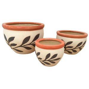 Ceramic 3-Piece Planter : Leaf Design