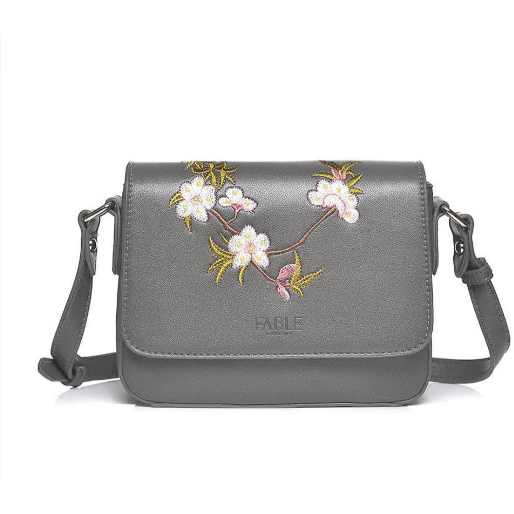 COPE CLOTHING : Grey floral cross body