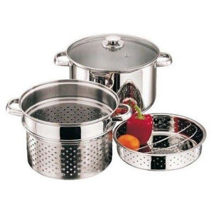 COOK & EAT : 3 Piece Stainless Steel Pasta Pot & Veg Steamer Casserole Pan Set