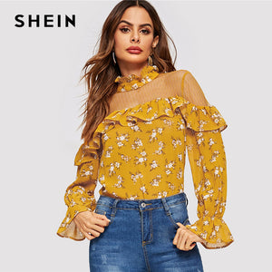 9dd9ee7e3d1387 SHEIN Ginger Floral Mesh Insert Ruffle Bell Sleeve Top Elegant Button Off  the Shoulder 2019 Women Spring Tops and Blouses