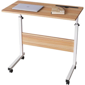 DlandHome 80 x 40cm computer desk learning desk care table bedside breakfast table height adjustable with casters side table for office bedroom with tablet slot - shopperskartuae