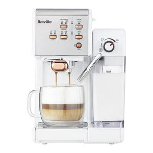 BREVILLE One-Touch Coffee Machine (White & Rose Gold). - shopperskartuae
