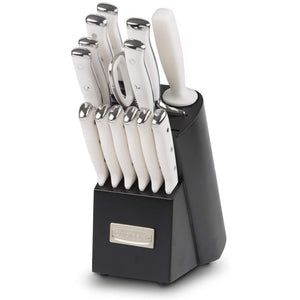 Cuisinart 15-Piece German Steel White Triple-Rivet Kitchen Knife Block Set (TRE-15WNC) (Black/White). - shopperskartuae