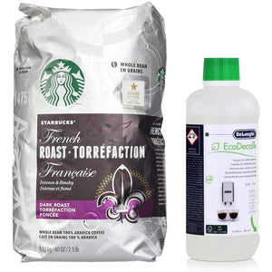 Starbucks French Dark Roast Whole Bean 100% Arabica Coffee 1.13 Kg + De'Longhi Natural Descaler For Coffee Machines, White, 500 ml - shopperskartuae