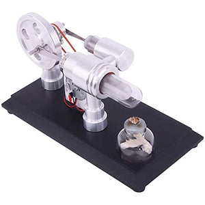Supersonic Double-cylinder Hot Air Stirling Engine Model Micro DIY Stirling Engine External Combustion Engine STEM Educational Toy. - shopperskartuae