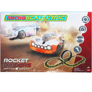 Micro Scalextric Rocket Raiders - Cobolt Crusher V Flaming Fury with Speed Limiter Hand Controller ( 4+ Ages).