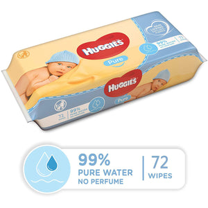 Huggies Pure Baby Water Wipes (72 Wipes). - shopperskartuae