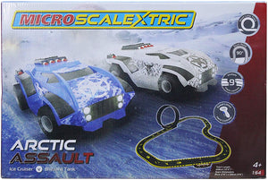Micro Scalextric Arctic Assault - Ice Cruiser vs Blizzard Tank With Speed Limiter Hand Controller (4+ Ages).